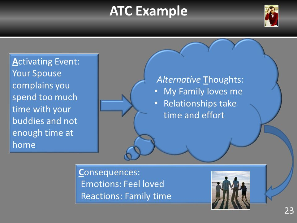 Activating Event: Your Spouse complains you spend too much time with your buddies and not enough time at home Alternative Thoughts: My Family loves me Relationships take time and effort Consequences: Emotions: Feel loved Reactions: Family time ATC Example 23