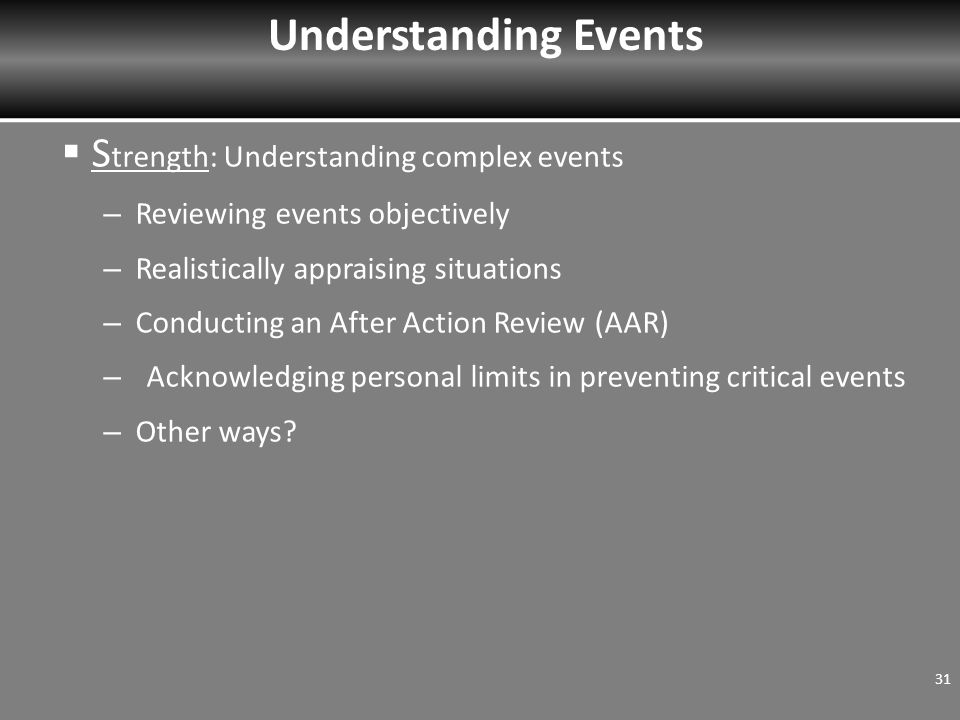 S trength: Understanding complex events – Reviewing events objectively – Realistically appraising situations – Conducting an After Action Review (AAR) – Acknowledging personal limits in preventing critical events – Other ways.