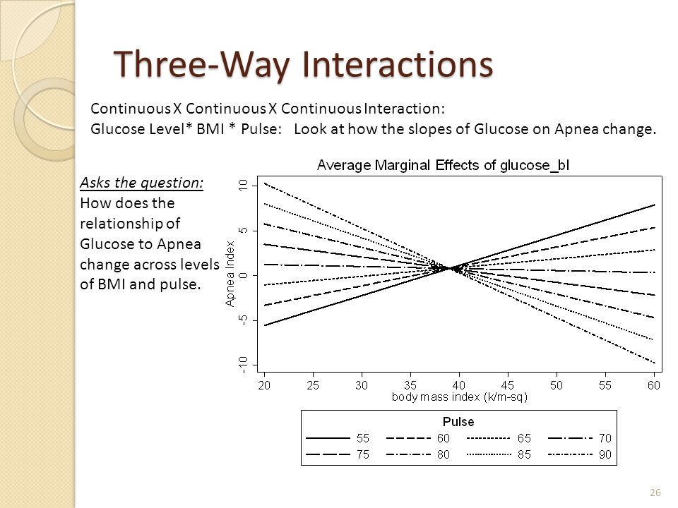Three-Way Interactions 26 Continuous X Continuous X Continuous Interaction: Glucose Level* BMI * Pulse: Look at how the slopes of Glucose on Apnea cha