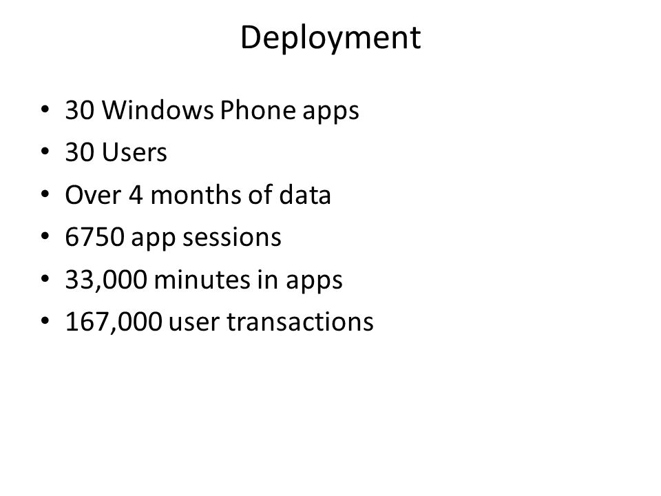 30 Windows Phone apps 30 Users Over 4 months of data 6750 app sessions 33,000 minutes in apps 167,000 user transactions Deployment