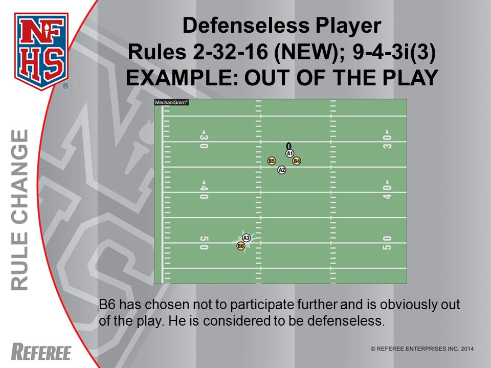 © REFEREE ENTERPISES INC. 2012 Defenseless Player Rules 2-32-16 (NEW); 9-4-3i(3) EXAMPLE: OUT OF THE PLAY B6 has chosen not to participate further and