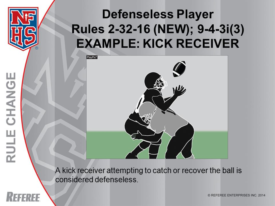 © REFEREE ENTERPISES INC. 2012 Defenseless Player Rules 2-32-16 (NEW); 9-4-3i(3) EXAMPLE: KICK RECEIVER A kick receiver attempting to catch or recover