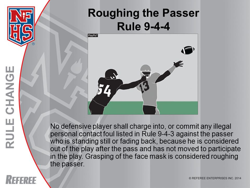 © REFEREE ENTERPISES INC. 2012 Roughing the Passer Rule 9-4-4 No defensive player shall charge into, or commit any illegal personal contact foul liste