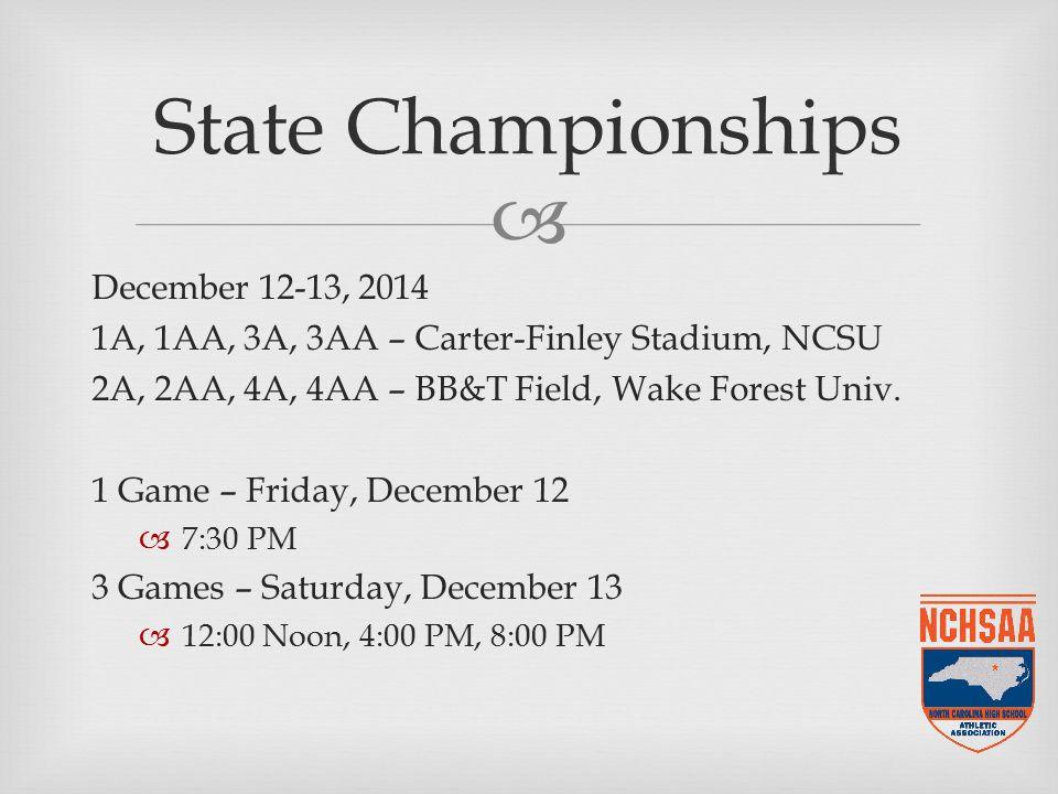  December 12-13, 2014 1A, 1AA, 3A, 3AA – Carter-Finley Stadium, NCSU 2A, 2AA, 4A, 4AA – BB&T Field, Wake Forest Univ.