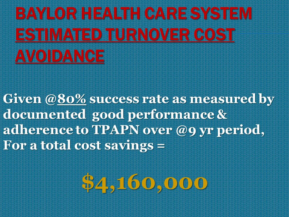 BAYLOR HEALTH CARE SYSTEM OUTCOMES 38 successfully completed TPAPN 16 remain active and compliant in TPAPN 11 resigned in good standing during participation 65/81 = 80% Success Rate 16 referred to BNE/employment terminated