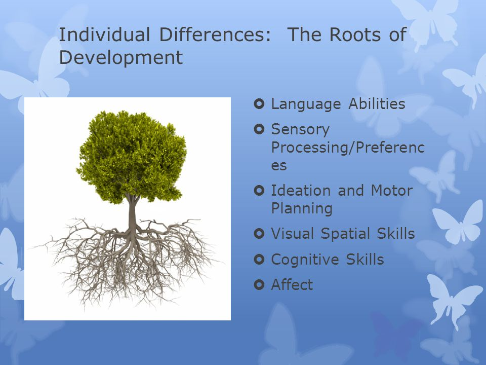 Individual Differences: The Roots of Development  Language Abilities  Sensory Processing/Preferenc es  Ideation and Motor Planning  Visual Spatial Skills  Cognitive Skills  Affect