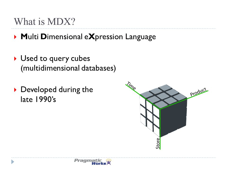 Where is MDX used?  Cube calculations  KPI's  Querying the cube