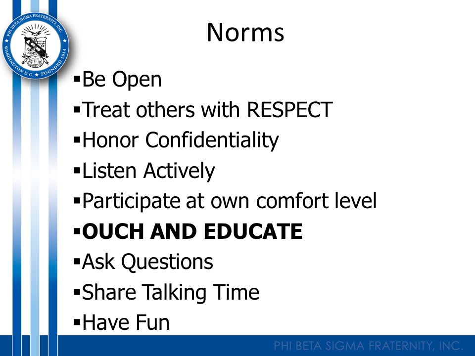Norms  Be Open  Treat others with RESPECT  Honor Confidentiality  Listen Actively  Participate at own comfort level  OUCH AND EDUCATE  Ask Questions  Share Talking Time  Have Fun