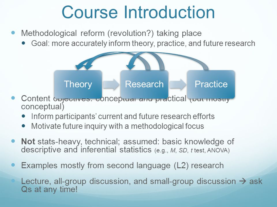 Course Introduction Methodological reform (revolution?) taking place Goal: more accurately inform theory, practice, and future research Content objectives: conceptual and practical (but mostly conceptual) Inform participants' current and future research efforts Motivate future inquiry with a methodological focus Not stats-heavy, technical; assumed: basic knowledge of descriptive and inferential statistics (e.g., M, SD, t test, ANOVA) Examples mostly from second language (L2) research Lecture, all-group discussion, and small-group discussion  ask Qs at any time.