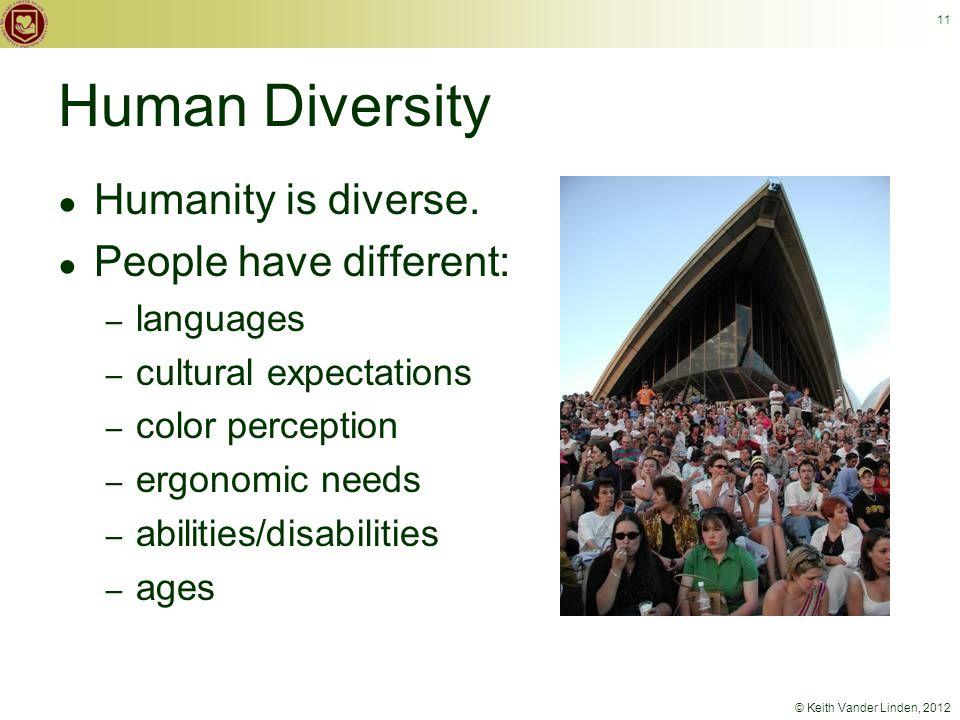 © Keith Vander Linden, 2012 11 ● Humanity is diverse.