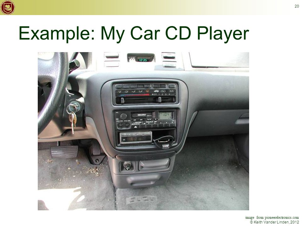© Keith Vander Linden, 2012 20 image from pioneerelectronics.com Example: My Car CD Player