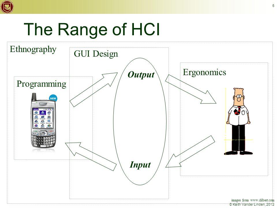 © Keith Vander Linden, 2012 5 The Range of HCI Input GUI Design Programming Ergonomics Ethnography Output images from www.dilbert.com