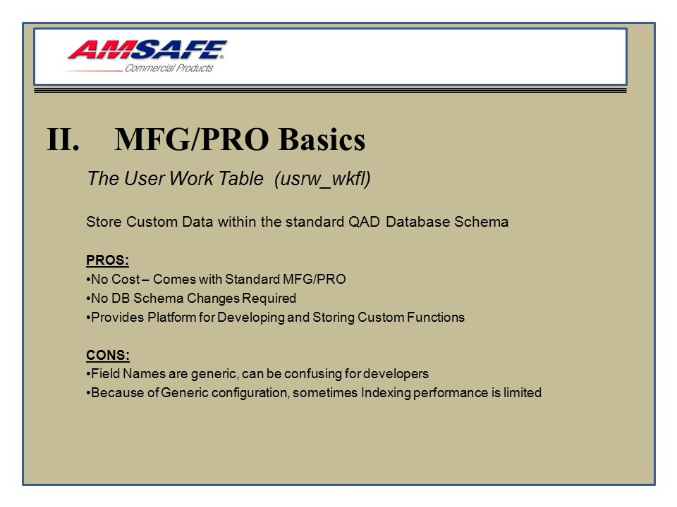 II.MFG/PRO Basics The User Work Table (usrw_wkfl) Store Custom Data within the standard QAD Database Schema PROS: No Cost – Comes with Standard MFG/PRO No DB Schema Changes Required Provides Platform for Developing and Storing Custom Functions CONS: Field Names are generic, can be confusing for developers Because of Generic configuration, sometimes Indexing performance is limited