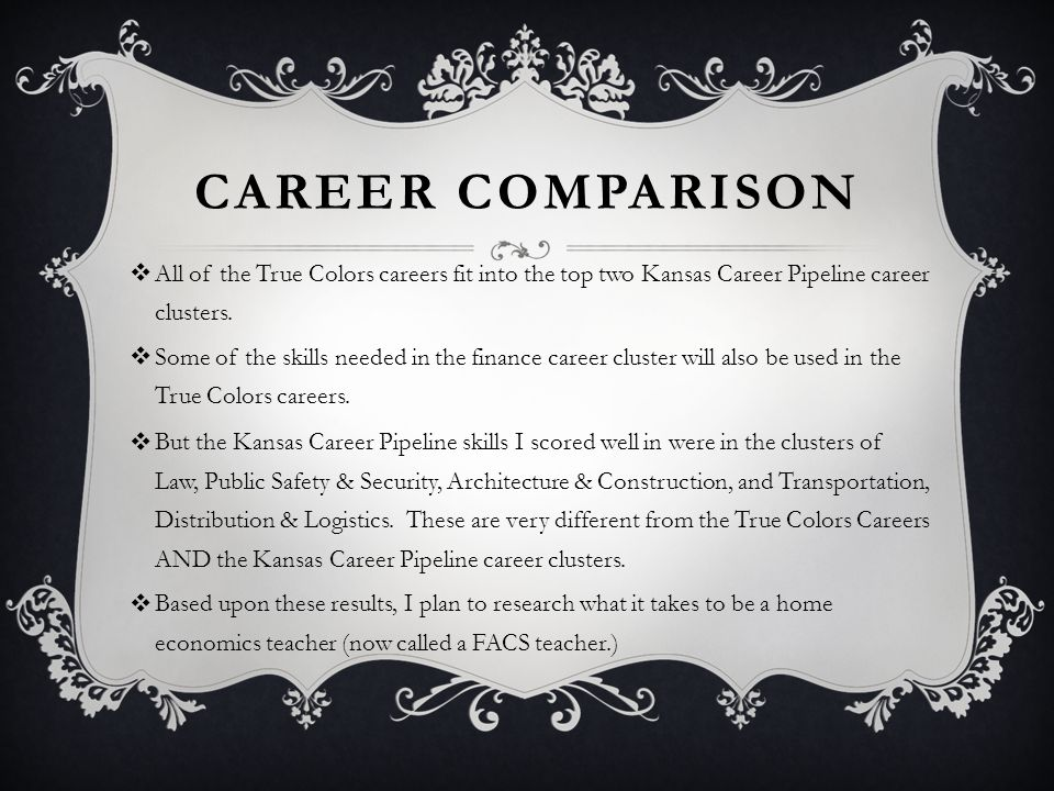 CAREER COMPARISON  All of the True Colors careers fit into the top two Kansas Career Pipeline career clusters.