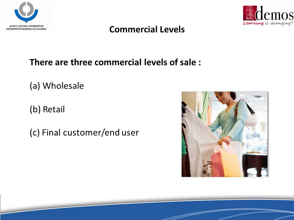 Commercial Levels There are three commercial levels of sale : (a) Wholesale (b) Retail (c) Final customer/end user