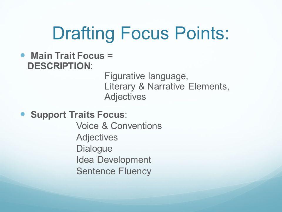 Drafting Focus Points: Main Trait Focus = DESCRIPTION: Figurative language, Literary & Narrative Elements, Adjectives Support Traits Focus: Voice & Co