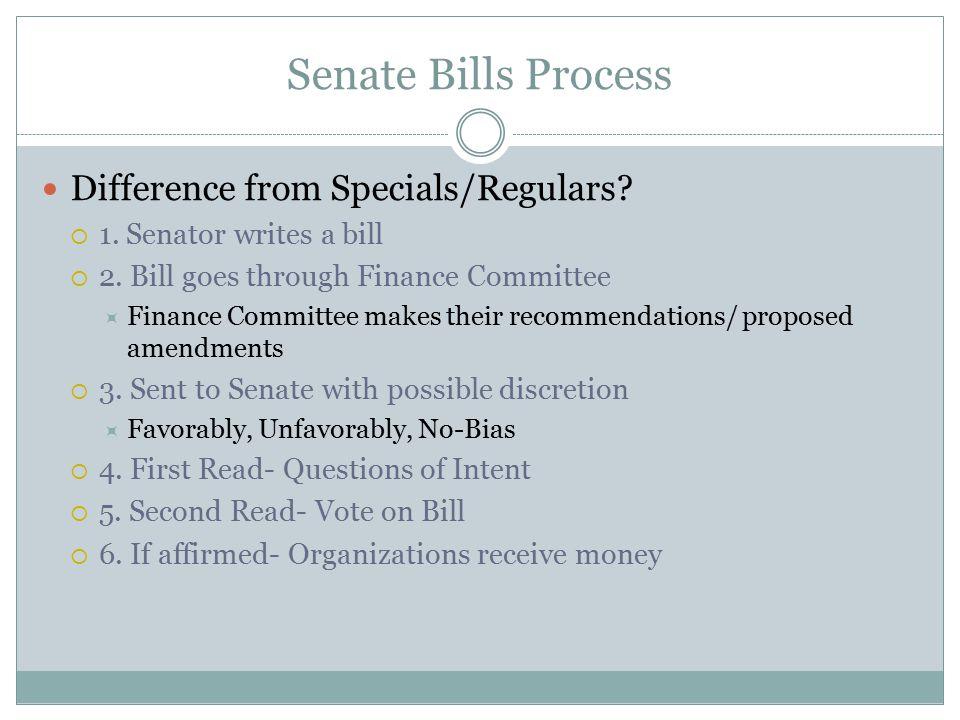 Senate Bills Process Difference from Specials/Regulars.