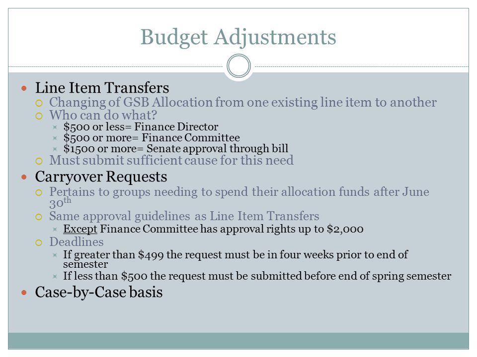 Budget Adjustments Line Item Transfers  Changing of GSB Allocation from one existing line item to another  Who can do what.