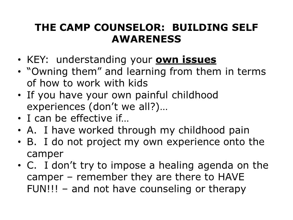 THE CAMP COUNSELOR: BUILDING SELF AWARENESS KEY: understanding your own issues Owning them and learning from them in terms of how to work with kids If you have your own painful childhood experiences (don't we all )… I can be effective if… A.