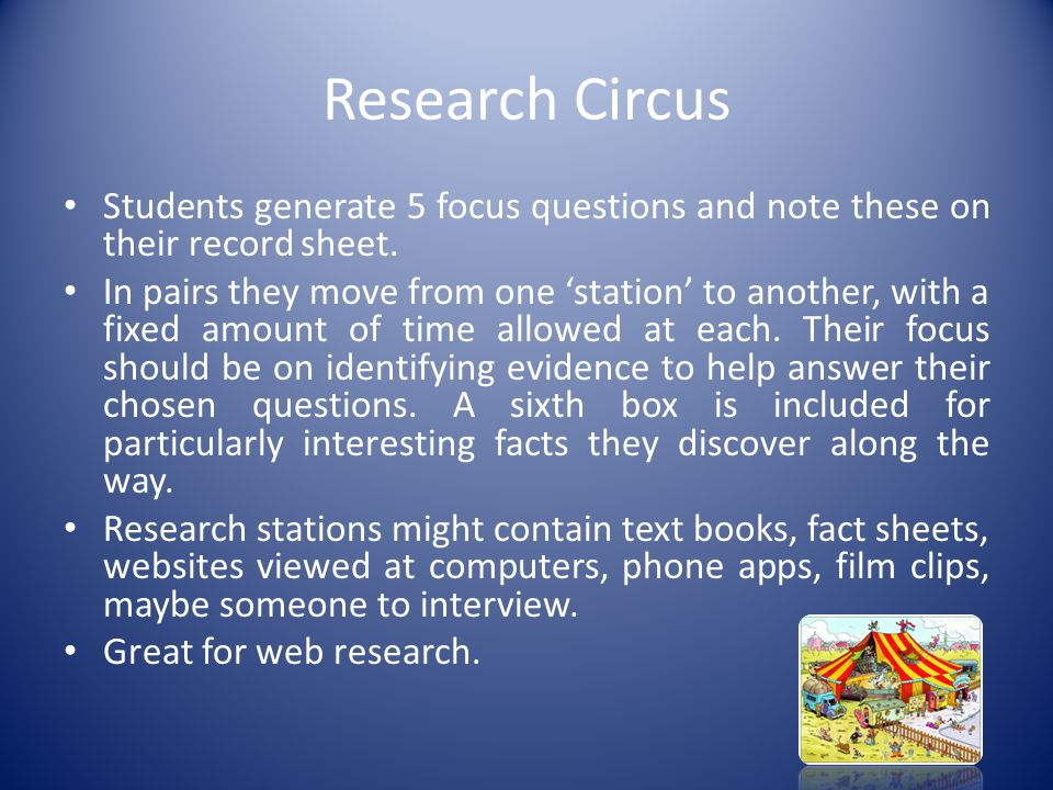 Research Circus Students generate 5 focus questions and note these on their record sheet.