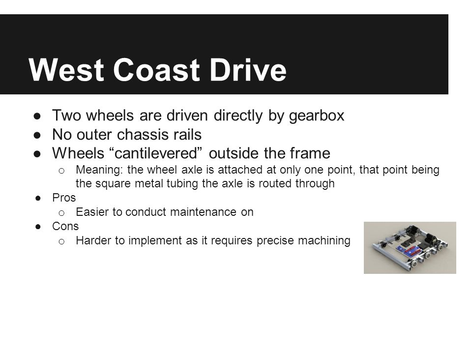 "West Coast Drive ●Two wheels are driven directly by gearbox ●No outer chassis rails ●Wheels ""cantilevered"" outside the frame o Meaning: the wheel axle"