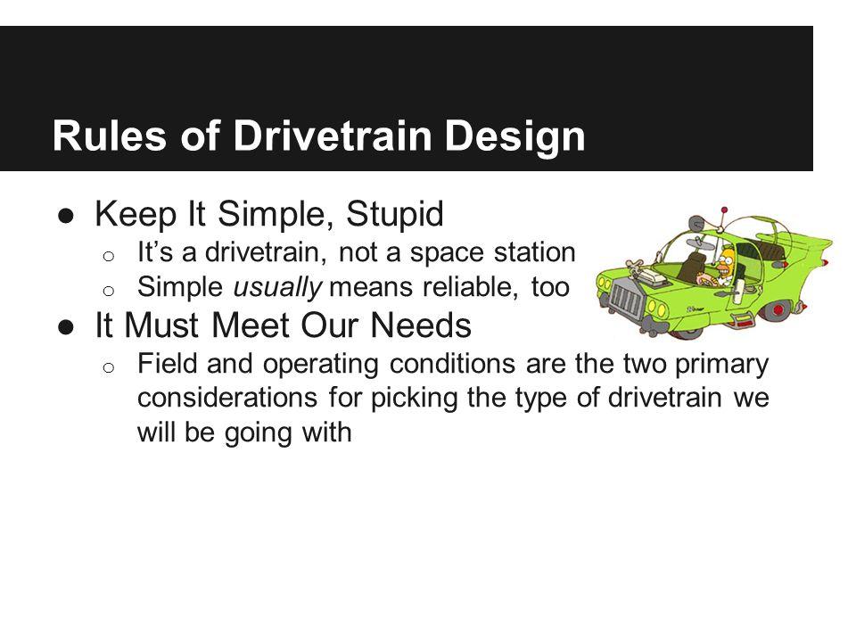 Four Guidelines of Drivetrain Design ●RRRR o Reliability o Repairability o Relevance o Resonability