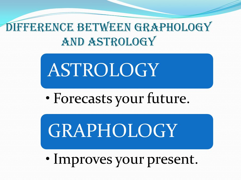 DIFFERENCE BETWEEN GRAPHOLOGY AND ASTROLOGY ASTROLOGY Forecasts your future.