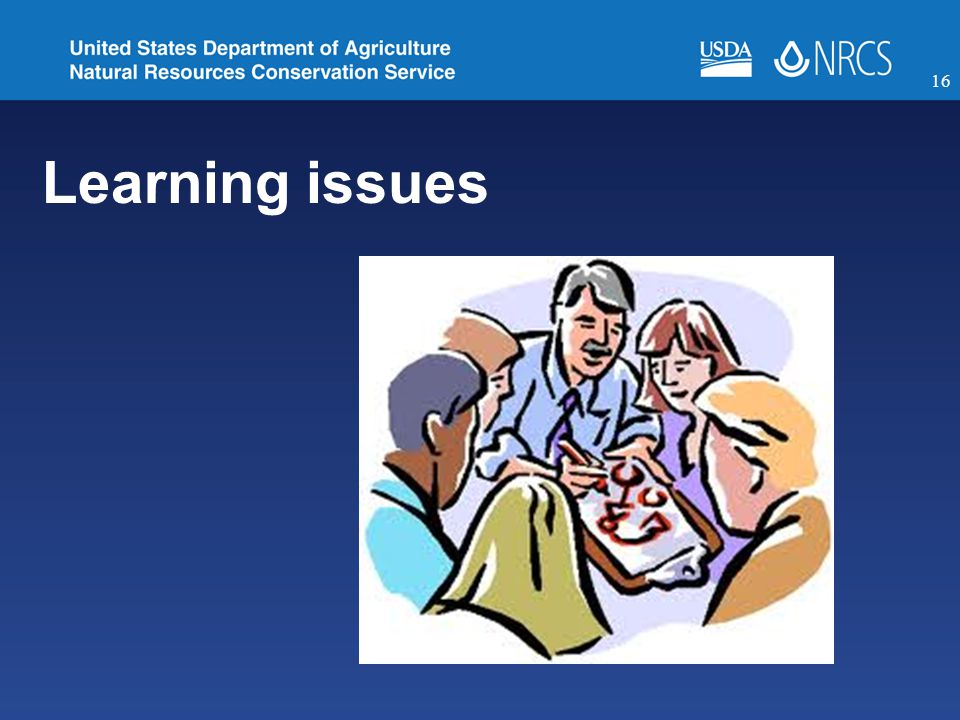 Learning issues 16
