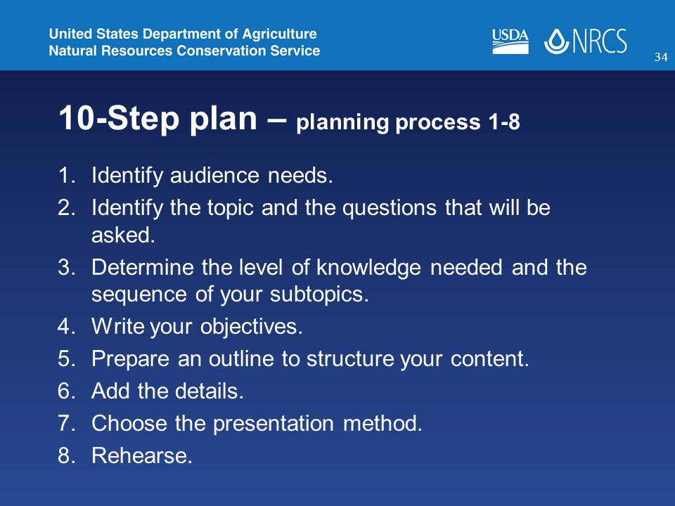 10-Step plan – planning process 1-8 1.Identify audience needs.