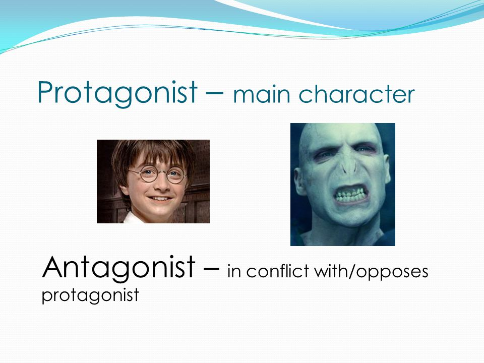Protagonist – main character Antagonist – in conflict with/opposes protagonist