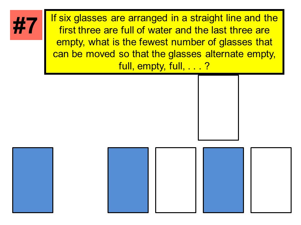 If six glasses are arranged in a straight line and the first three are full of water and the last three are empty, what is the fewest number of glasse