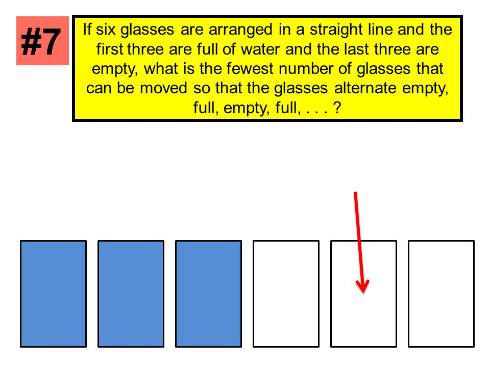 If six glasses are arranged in a straight line and the first three are full of water and the last three are empty, what is the fewest number of glasses that can be moved so that the glasses alternate empty, full, empty, full,...