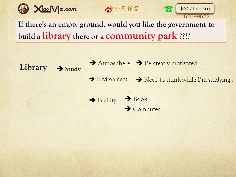 小马托福 010- 62699622 If there's an empty ground, would you like the government to build a library there or a community park .