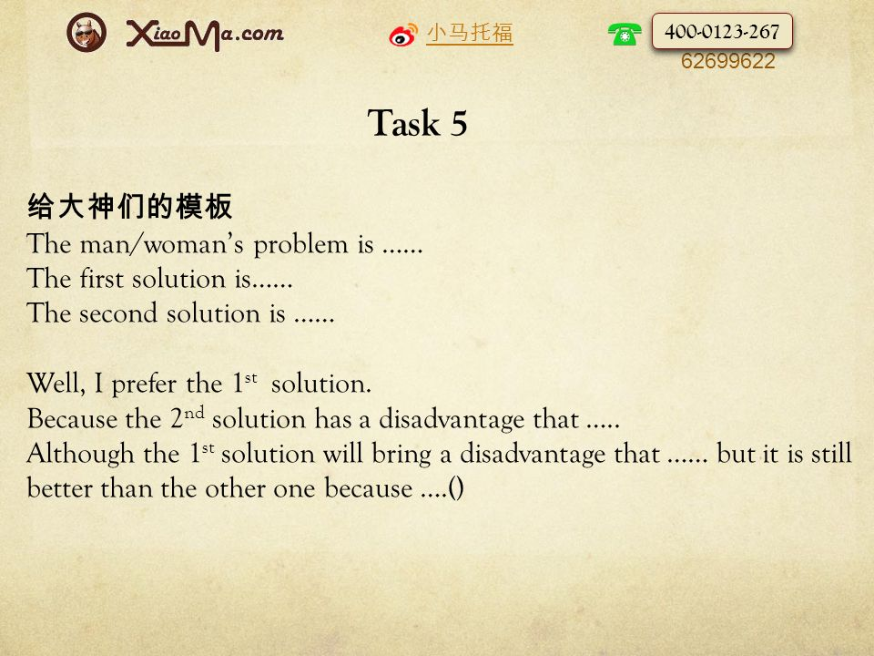 小马托福 010- 62699622 Task 5 给大神们的模板 The man/woman's problem is …… The first solution is…… The second solution is …… Well, I prefer the 1 st solution.