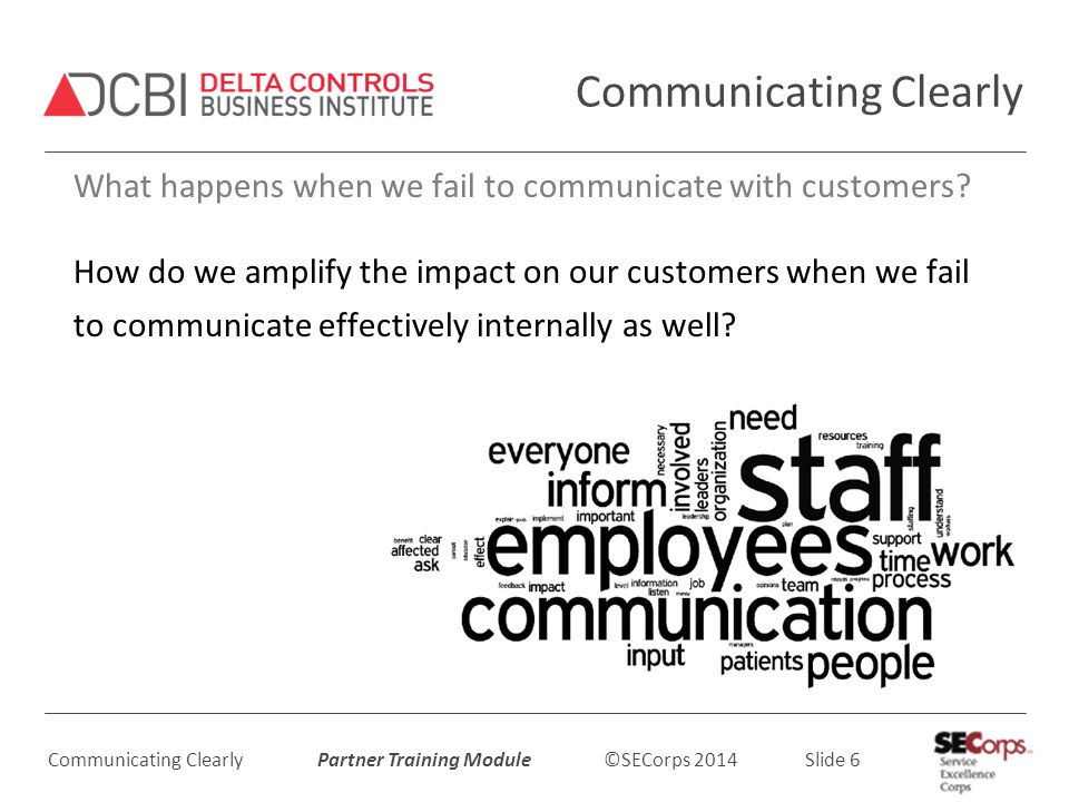Communicating Clearly Partner Training Module ©SECorps 2014 Slide 6 Communicating Clearly What happens when we fail to communicate with customers.