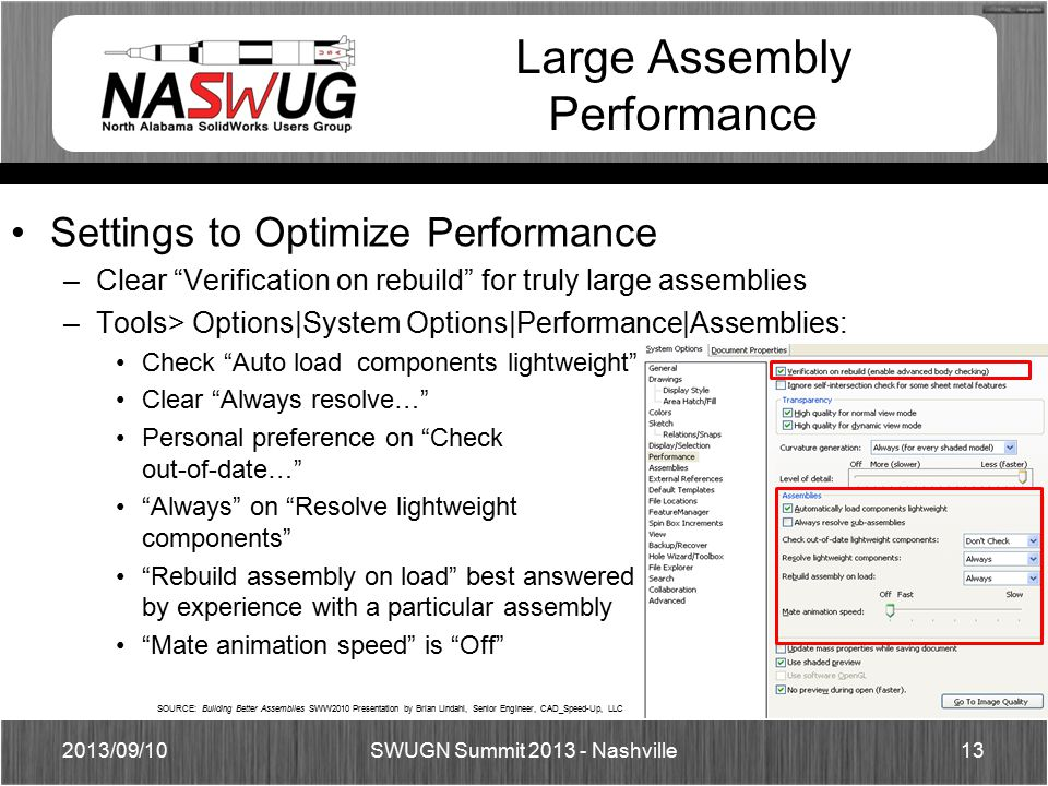 Large Assembly Performance Settings to Optimize Performance –Clear Verification on rebuild for truly large assemblies –Tools> Options|System Options|Performance|Assemblies: Check Auto load components lightweight Clear Always resolve… Personal preference on Check out-of-date… Always on Resolve lightweight components Rebuild assembly on load best answered by experience with a particular assembly Mate animation speed is Off 2013/09/1013 SWUGN Summit 2013 - Nashville SOURCE: Building Better Assemblies SWW2010 Presentation by Brian Lindahl, Senior Engineer, CAD_Speed-Up, LLC
