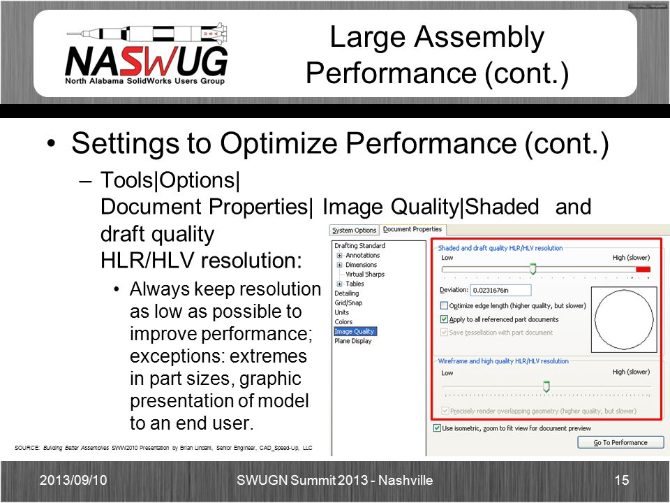 Large Assembly Performance (cont.) Settings to Optimize Performance (cont.) –Tools|Options| Document Properties| Image Quality|Shaded and draft quality HLR/HLV resolution: Always keep resolution as low as possible to improve performance; exceptions: extremes in part sizes, graphic presentation of model to an end user.