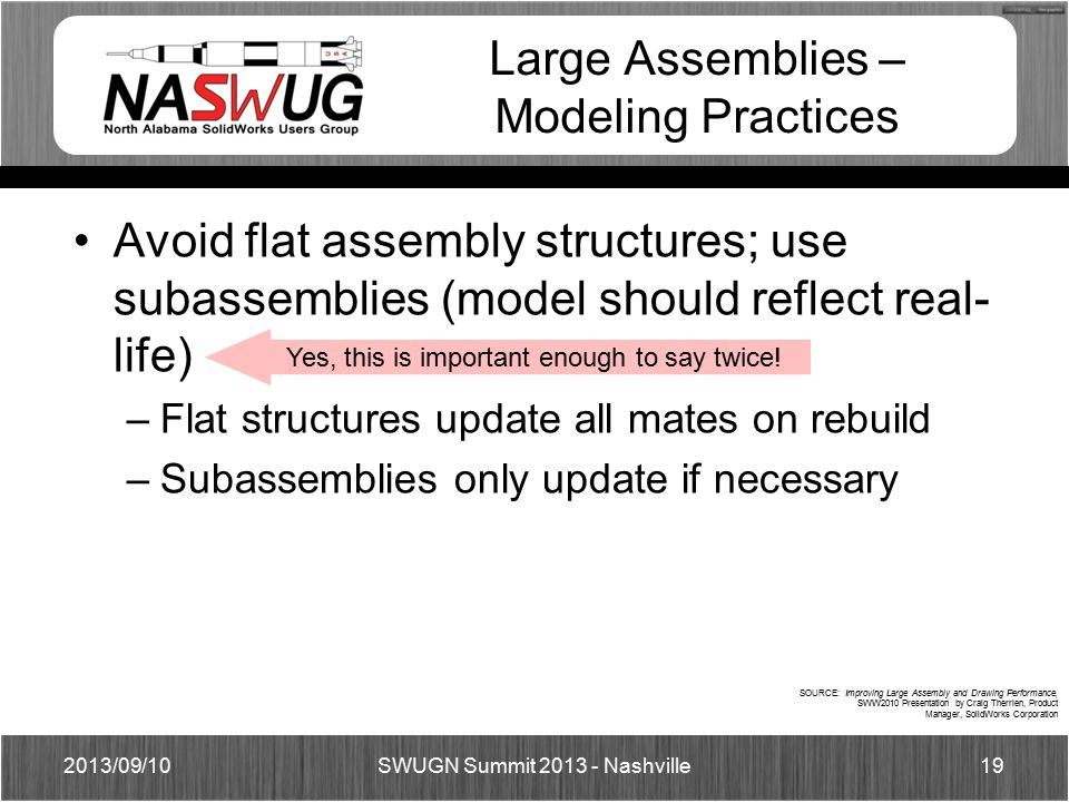 Large Assemblies – Modeling Practices Avoid flat assembly structures; use subassemblies (model should reflect real- life) –Flat structures update all