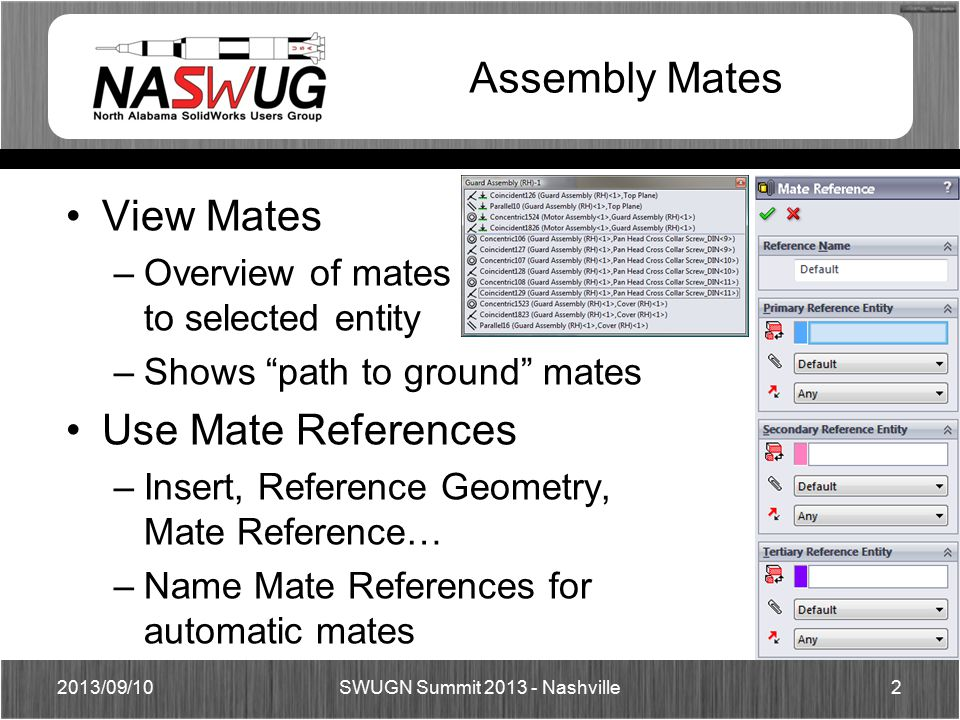 Assembly Mates View Mates –Overview of mates to selected entity –Shows path to ground mates Use Mate References –Insert, Reference Geometry, Mate Reference… –Name Mate References for automatic mates 2013/09/102 SWUGN Summit 2013 - Nashville