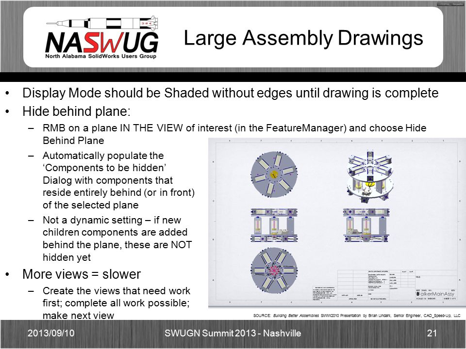 Display Mode should be Shaded without edges until drawing is complete Hide behind plane: –RMB on a plane IN THE VIEW of interest (in the FeatureManager) and choose Hide Behind Plane –Automatically populate the 'Components to be hidden' Dialog with components that reside entirely behind (or in front) of the selected plane –Not a dynamic setting – if new children components are added behind the plane, these are NOT hidden yet More views = slower –Create the views that need work first; complete all work possible; make next view Large Assembly Drawings 2013/09/1021 SWUGN Summit 2013 - Nashville SOURCE: Building Better Assemblies SWW2010 Presentation by Brian Lindahl, Senior Engineer, CAD_Speed-Up, LLC
