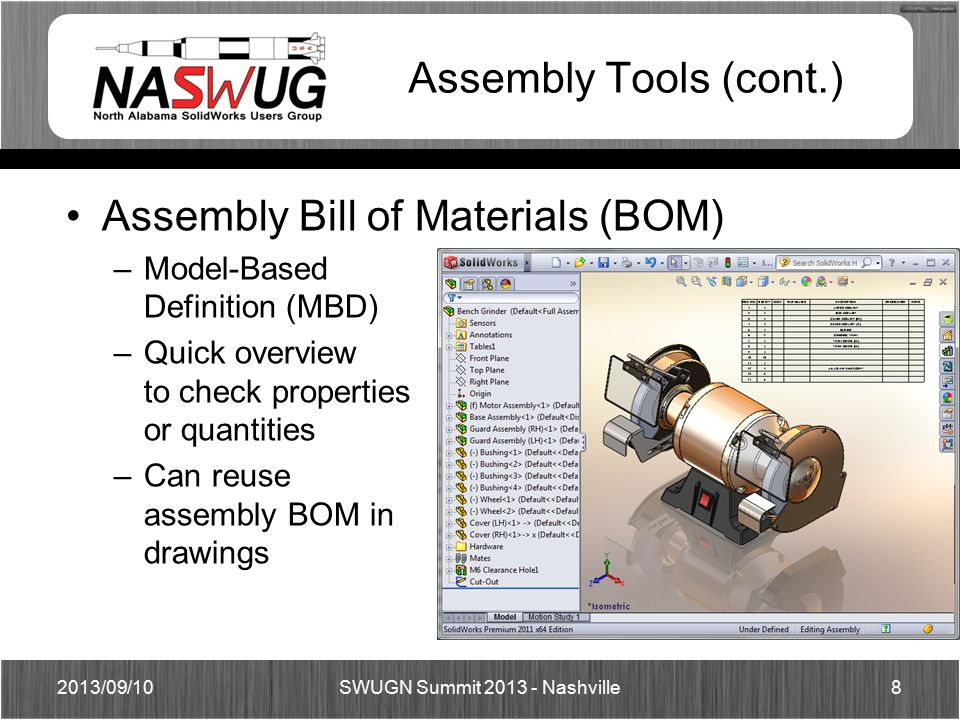 Assembly Tools (cont.) Assembly Bill of Materials (BOM) –Model-Based Definition (MBD) –Quick overview to check properties or quantities –Can reuse assembly BOM in drawings 2013/09/108 SWUGN Summit 2013 - Nashville