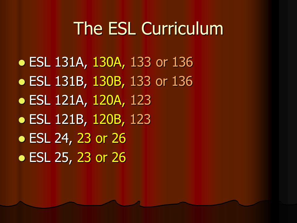 ESL Assessment Scores CELSA Score Writing Score ESL Level 20-3411A 35-4821B 49-5532A 56-6442B 65-6953A 70-7563B Students who assess below 131A are encouraged to study English at an adult school until they reach the beginning level at LPC.