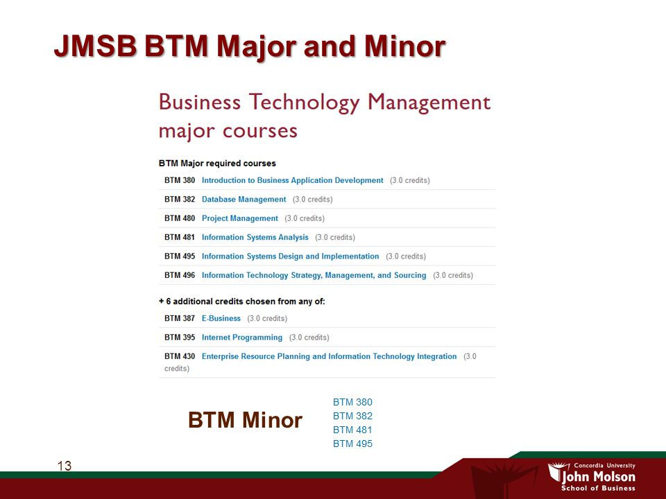 JMSB BTM Major and Minor 13 BTM Minor
