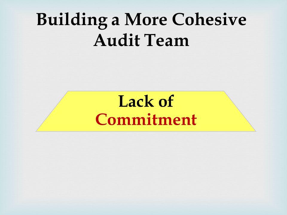 Building a More Cohesive Audit Team Lack of Commitment