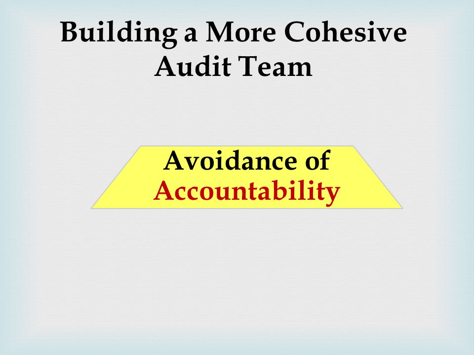 Building a More Cohesive Audit Team Avoidance of Accountability