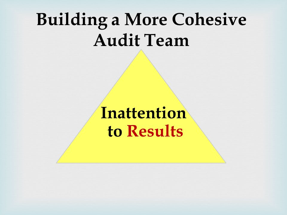 Building a More Cohesive Audit Team Inattention to Results