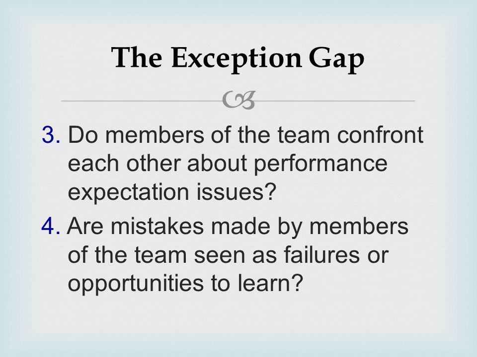  3. Do members of the team confront each other about performance expectation issues? 4. Are mistakes made by members of the team seen as failures or