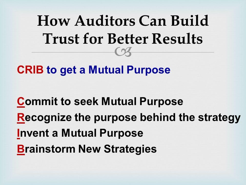  CRIB to get a Mutual Purpose Commit to seek Mutual Purpose Recognize the purpose behind the strategy Invent a Mutual Purpose Brainstorm New Strategi