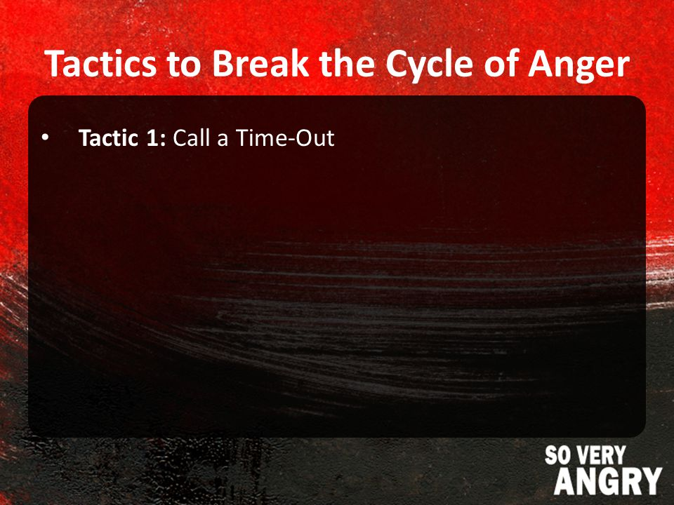 Tactics to Break the Cycle of Anger Tactic 1: Call a Time-Out