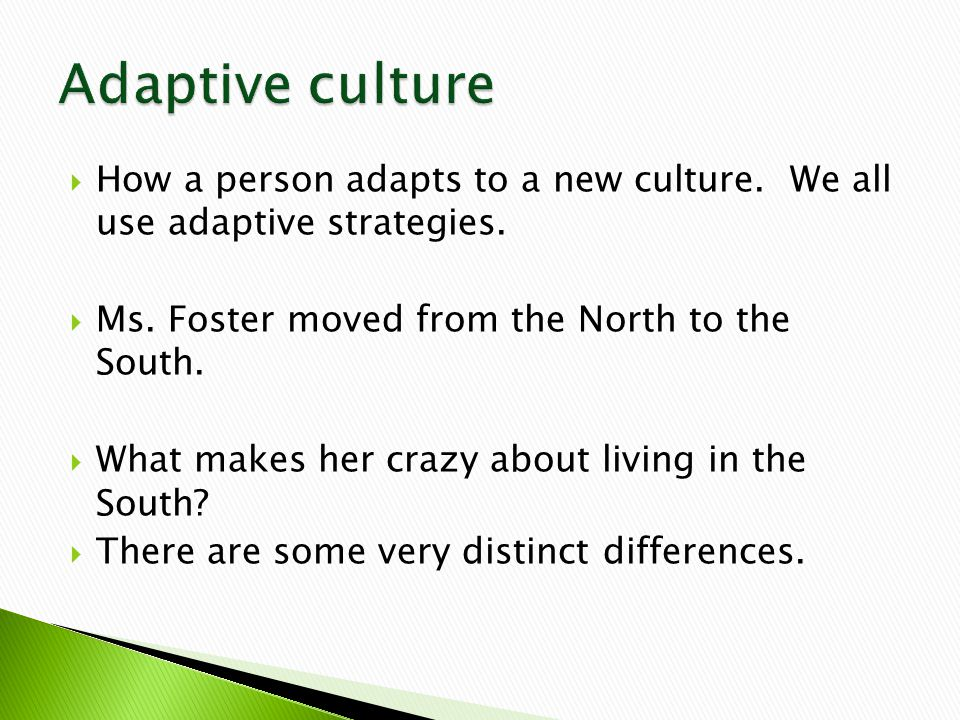  How a person adapts to a new culture. We all use adaptive strategies.
